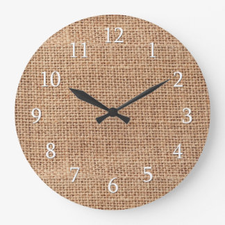 Rustic Country Farmhouse Burlap Large Clock