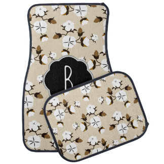 Rustic Country Farmhouse Cotton Flowers Car Mat