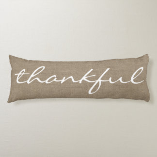 Rustic Country Farmhouse THANKFUL Script Body Pillow