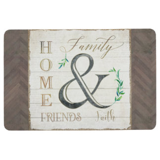 Rustic Country Farmhouse Wood Home Family Leaves Floor Mat