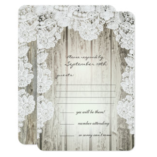 Rustic Country Faux Lace Barnwood Wedding RSVP Card