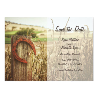 Rustic Country Fence and Horseshoe Save the Date Card