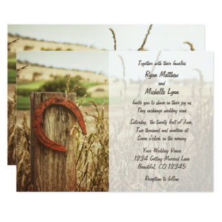 Rustic Country Fence and Horseshoe Wedding Invite