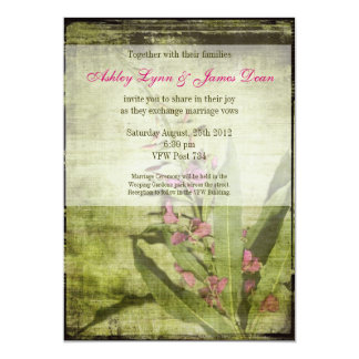 Rustic Country Fireweed Wedding Invitations Pink