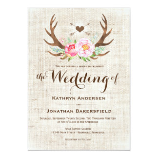 Rustic Country Floral Antlers Wedding Invitations