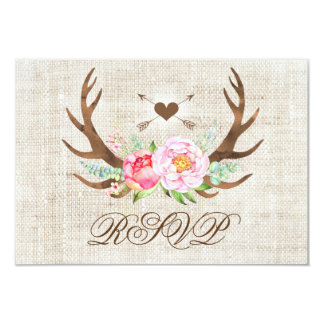Rustic Country Floral Antlers Wedding RSVP Cards