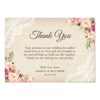 Rustic Country Floral Lace Burlap Thank You Card