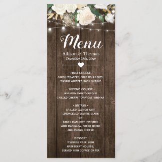 Rustic Country Floral String Lights Wedding Menu