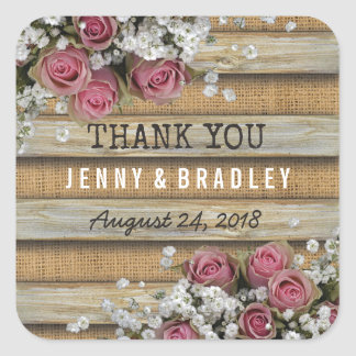Rustic Country Floral Wedding | Burlap Wood Square Sticker
