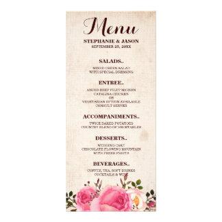 Rustic Country Floral wedding menu rack card