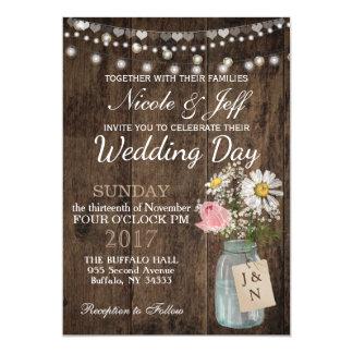 Rustic Country Flower Mason Jar Barn Wedding Card