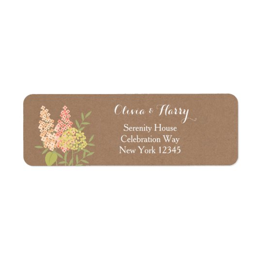 Rustic Country Flowers - Faux Kraft Wedding Label Return Address Label