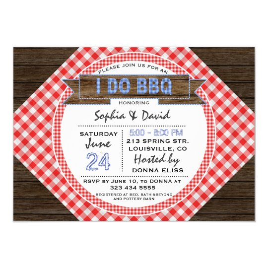 Rustic Country Gingham I DO BBQ Couples Shower Card