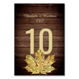 Rustic Country Gold Leaf Wedding Table Number