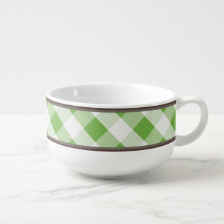 Rustic Country Green White Gingham 24oz Soup Mug