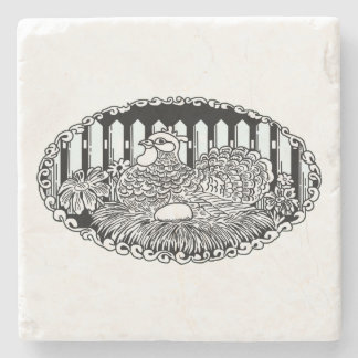 Rustic Country Hen Stone Coaster