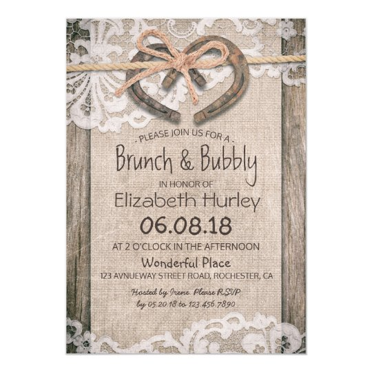 Rustic Country Horseshoe Burlap Lace Bridal Shower Card