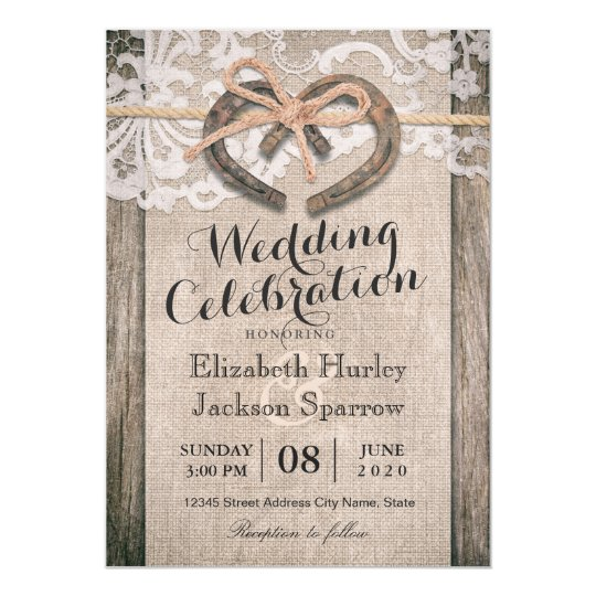 Rustic Country Horseshoe Burlap Lace Wedding Card