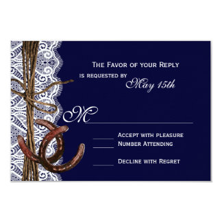 "Rustic Country Horseshoe Navy Wedding RSVP Cards 3.5"" X 5"" Invitation Card"