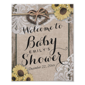 Rustic Country Horseshoes Baby Shower Welcome Sign