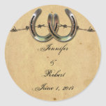 Rustic Country Horseshoes Barbed Envelope Seal Round Stickers