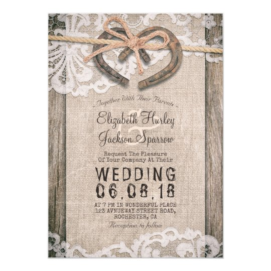 Rustic Country Horseshoes Burlap Lace Barn Wedding Card