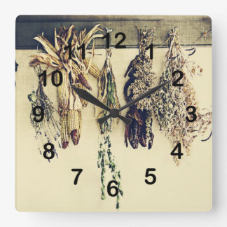 rustic country kitchen - dried herbs square wall clock