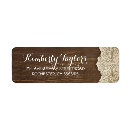 Rustic Country Lace and Wood Brown Wedding Return Address Label