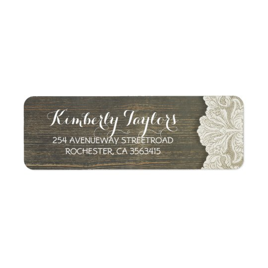 Rustic Country Lace and Wood Wedding Return Address Label