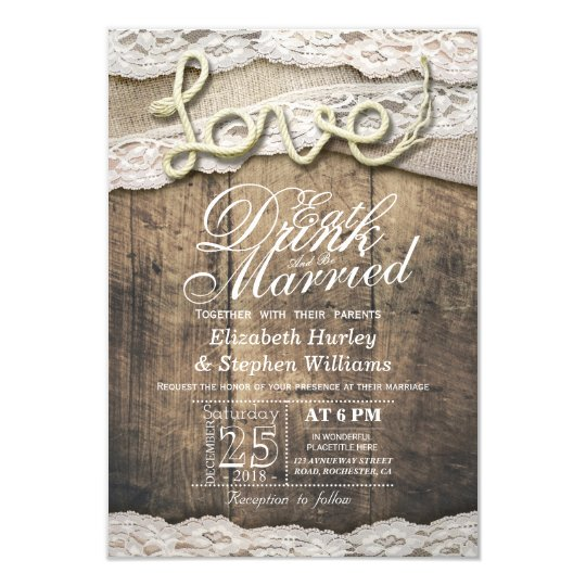 Rustic Country Lace EAT Drink Be Married Wedding Card