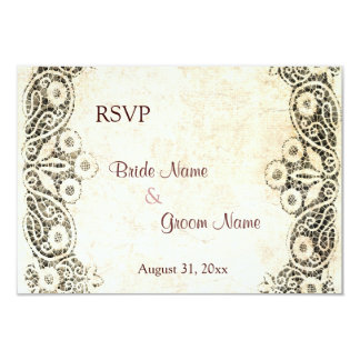 Rustic country lace on burlap RSVP card