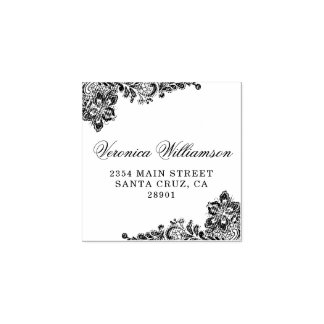 Rustic Country Lace Wedding Return Address Rubber Stamp