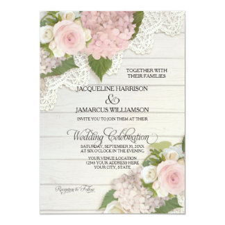 "Rustic Country Lace Wood n Pink Hydrangeas Wedding 5"" X 7"" Invitation Card"