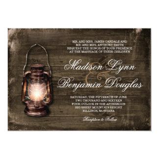 Rustic Country Lantern Barn Wood Wedding Invites