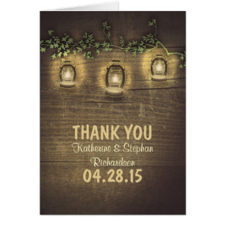 rustic country lantern lights wedding thank you card