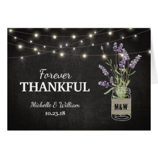 Rustic Country Lavender Lights Wedding Thank You Card