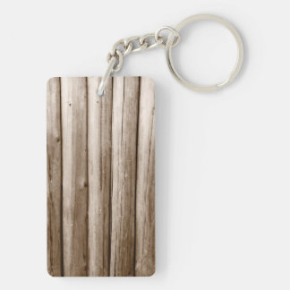 Rustic Country Log Cabin Distressed Vintage Wood Double-Sided Rectangular Acrylic Keychain