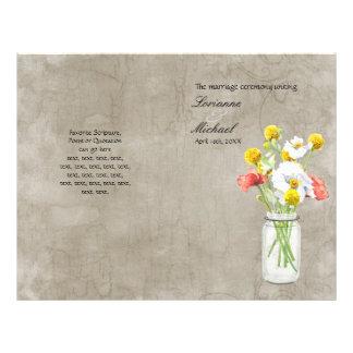 Rustic Country Mason Jar Bouquet Wedding Program