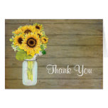 Rustic Country Mason Jar Flowers Sunflower Bouquet Note Card