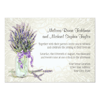 Rustic Country Mason Jar Lace n Lavender Floral Card