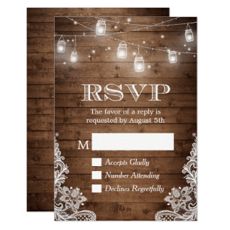 Rustic Country Mason Jar Lights Lace Wood RSVP Card