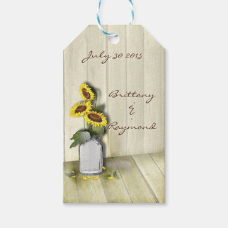 RUSTIC COUNTRY MASON JAR WITH SUNFLOWERS GIFT TAGS