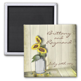 RUSTIC COUNTRY MASON JAR WITH SUNFLOWERS SQUARE MAGNET