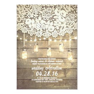 "Rustic Country Mason Jars Lights Lace Wood Wedding 5"" X 7"" Invitation Card"