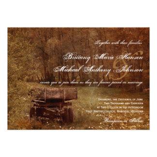 Rustic Country Meadow Wagon Wedding Invitations