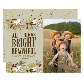 Rustic Country Modern Holiday Photo Card