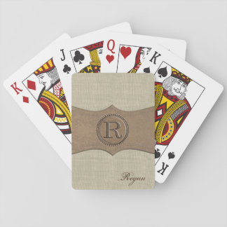Rustic Country Monogram Letter R Poker Deck