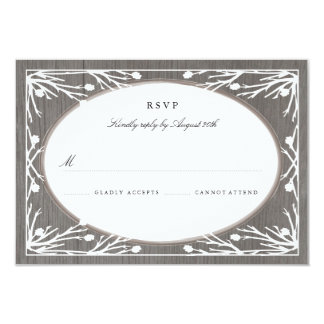 "Rustic Country Monogram Wedding RSVP 3.5"" X 5"" Invitation Card"