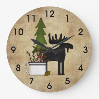 Rustic Country Mountain Silhouette Moose Wallclocks