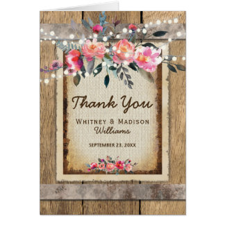 Rustic Country Oak Barrel Burlap and Wood Thanks Card